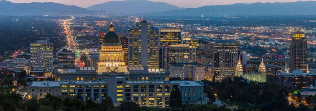 Nighttime panoramic overlooking the capitol building and Salt Lake City skyline