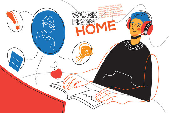 Work from home - colorful flat design style illustration