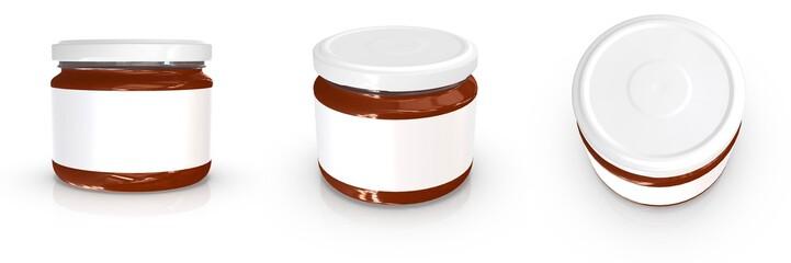 Realistic 300ml glass jar mockup. 3d rendering