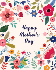 Fototapete - Happy Mothers Day greeting illustration with colorful spring flowers. Happy Mothers Day template, invitation