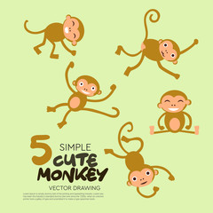 Simple cute monkey characters vector illustration.Good for doodle design or any animal cartoon object element.