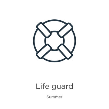 Life guard icon. Thin linear life guard outline icon isolated on white background from summer collection. Line vector sign, symbol for web and mobile
