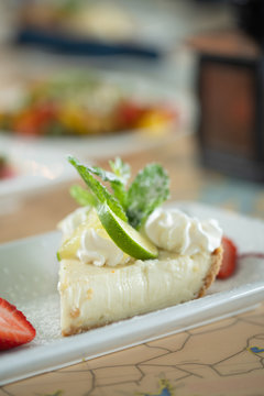 key lime pie slice on plate