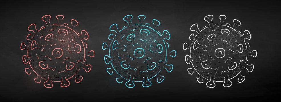 Coronavirus vector chalk drawn set