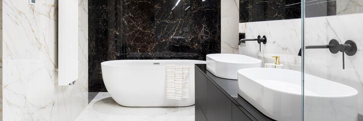 Elegant bathroom in marble, panorama