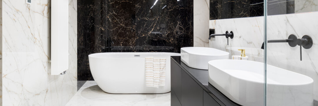 Elegant bathroom in marble, panorama