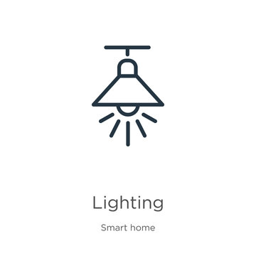 Lighting icon. Thin linear lighting outline icon isolated on white background from smart house collection. Line vector sign, symbol for web and mobile