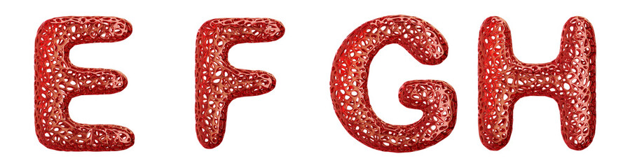 Realistic 3D letters set E, F, G, H made of red plastic.
