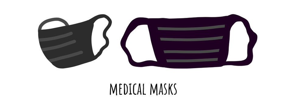 Vector clean black mask icon on white background, dentist mask trendy filled icons from. Medical mask to protect against viruses and bacteria in quarantine and pandemic epidemic.Logo for factory