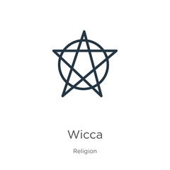 Wicca icon. Thin linear wicca outline icon isolated on white background from religion collection. Line vector sign, symbol for web and mobile