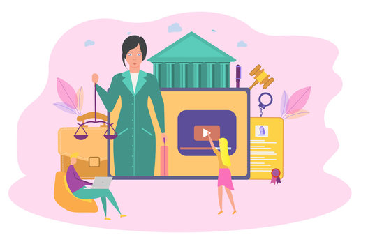A woman lawyer conducts an online consultation. Online consultation system, lawyer service concept. Personal blog of a lawyer. Colorful vector illustration.