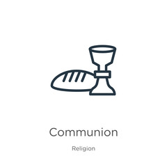 Communion icon. Thin linear communion outline icon isolated on white background from religion collection. Line vector sign, symbol for web and mobile