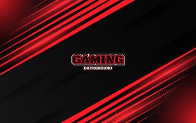 Abstract futuristic black and red gaming background with modern esport shapes. Vector design template technology concept can use element game banner, sport poster, cyber wallpaper, web, advertising Wall mural