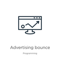 Advertising bounce icon. Thin linear advertising bounce outline icon isolated on white background from programming collection. Line vector sign, symbol for web and mobile