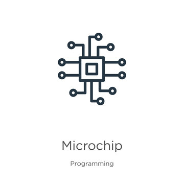 Microchip icon. Thin linear microchip outline icon isolated on white background from programming collection. Line vector sign, symbol for web and mobile