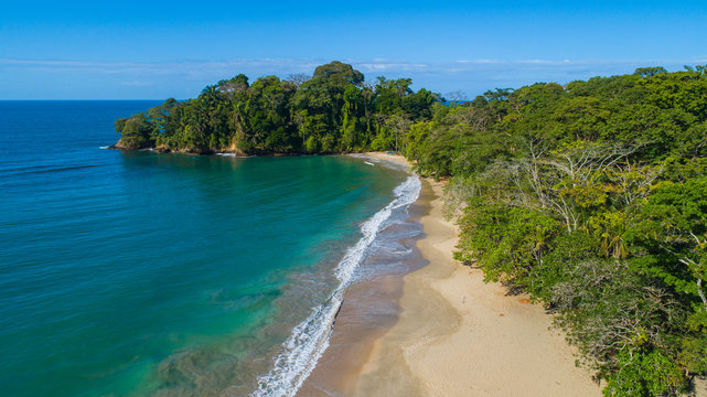 Aerial view from Punta Uva Beach at the Caribbean of Costa Rica