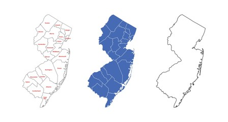 New Jersey Counties Map With Name - Map of New Jersey Administrative Counties Outline Isolated on White