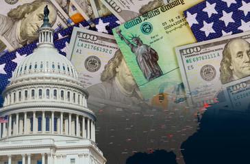 U.S. Capitol in Washington D.C. with Coronavirus financial a stimulus bill individual checks from...
