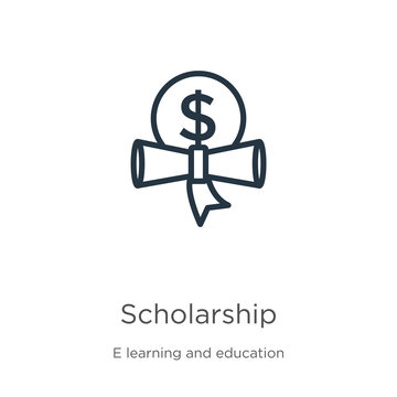 Scholarship icon. Thin linear scholarship outline icon isolated on white background from e learning and education collection. Line vector sign, symbol for web and mobile