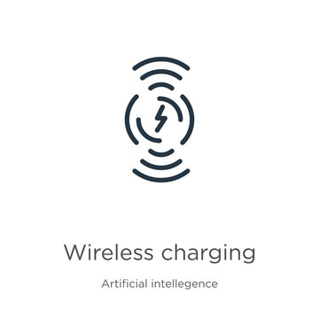 Wireless charging icon. Thin linear wireless charging outline icon isolated on white background from artificial intellegence and future technology collection. Line vector sign, symbol for web and