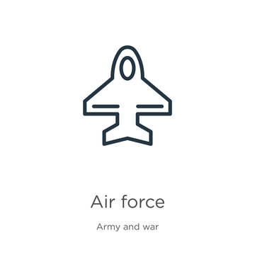 Air force icon. Thin linear air force outline icon isolated on white background from army and war collection. Line vector sign, symbol for web and mobile