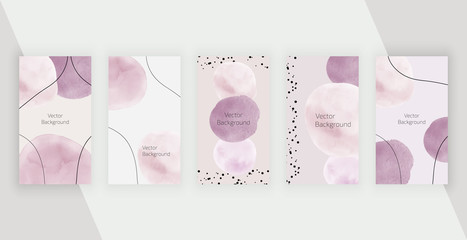 Social media stories backgrounds with pink watercolor hand painted shapes. Modern neutral design for flyer, poster, card Fototapete