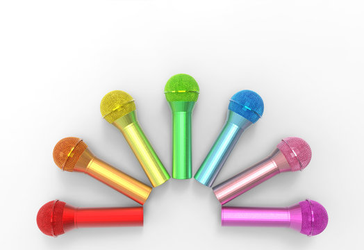 3d rendering. Lgbtq+ rainbow color microphone row on gray background.