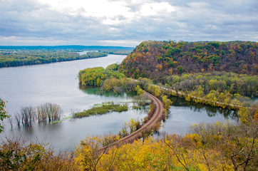 Mississippi River and Wooded Bluffs at Iowa Border