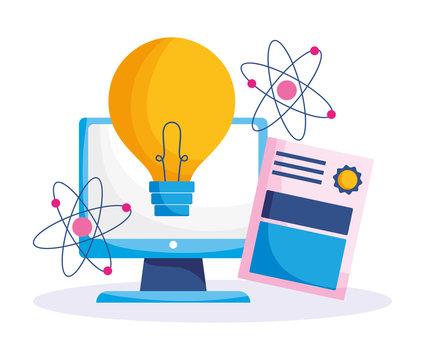 education online, computer science atom and certificate, coronavirus pandemic