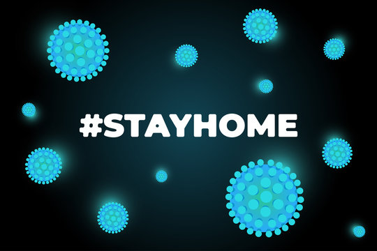 Stay at home self isolation to prevent spreading coronavirus slogan. Hashtag stayhome infection epidemic protection campaign. Quarantine poster with corona virus and hash tag quote vector illustration