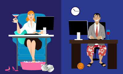 Man and woman having an online date, sitting at home in front of their computers, EPS 8 vector illustration