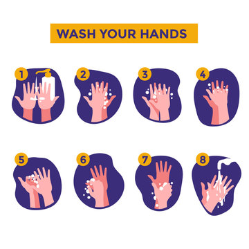 How to wash your hands steps vector illustration for stop corona virus