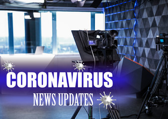 Modern video recording studio. Coronavirus pandemic - latest updates