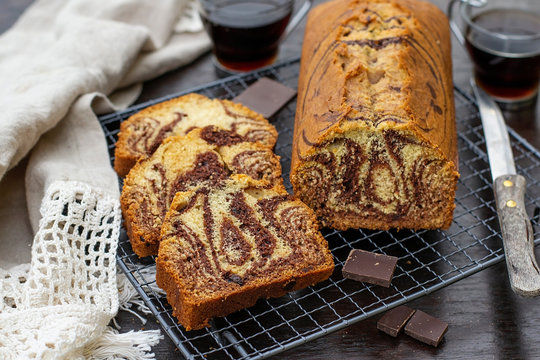 Sweet marble cake with vanilla and chocolate
