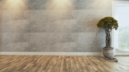 Foto op Canvas Chinese Muur living room with plant, concrete wall