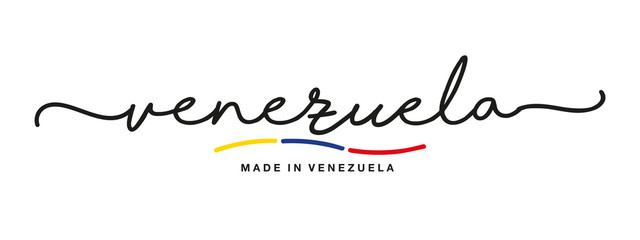 Made in Venezuela handwritten calligraphic lettering logo sticker flag ribbon banner