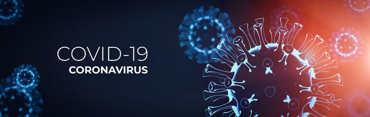 Coronavirus 3D render, COVID-19 pandemic