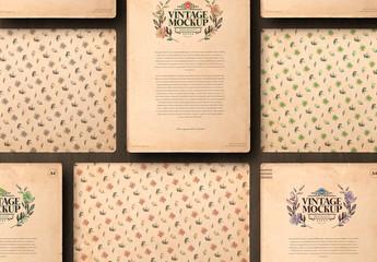 A4 Vintage Paper Landscape and Portrait Mockup Set