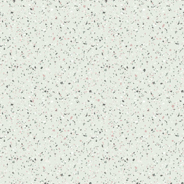 Terrazzo seamless pattern. Vector texture of mosaic floor with natural stones, granite, marble, quartz, limestone, colored glass, concrete. Terazzo flooring. Sandy background in green pastel colors