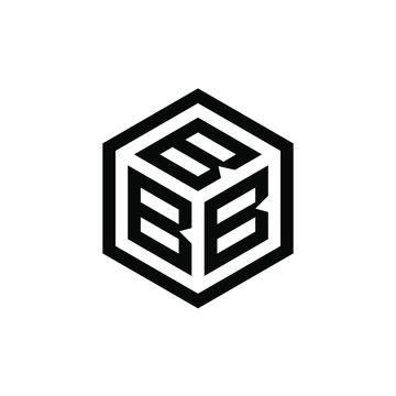 BBB letter with hexagon logo design vector