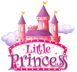 Garden Poster Kids Font design for word little princess with pink castle