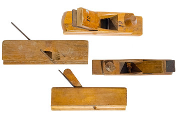 different planes old wooden jointer tools. Isolated on a white background