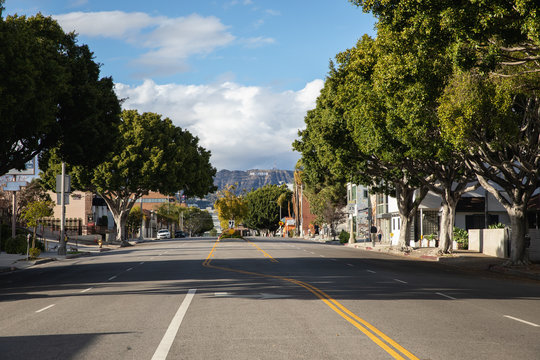 street in the city of Los Angeles during the coronavirus emergency