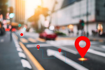 Blur traffic road and colorful bokeh light and old building town abstract background with navigator gps location. Copy space of transportation and travel concept. Fotomurales