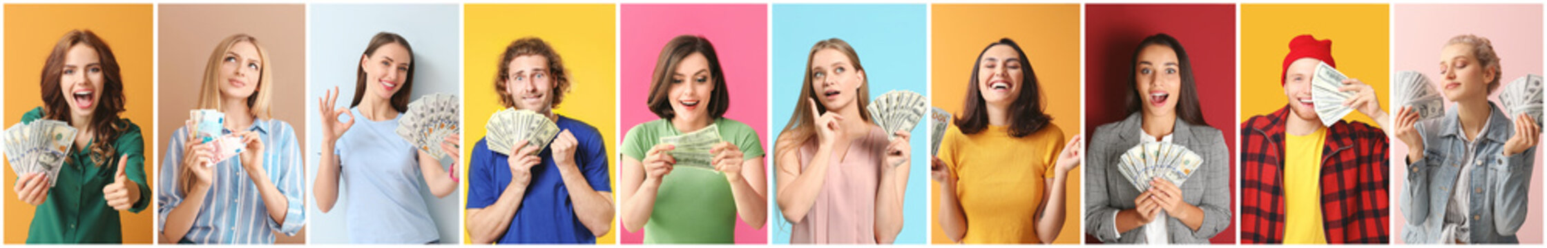 Collage of photos with emotional young people holding their money