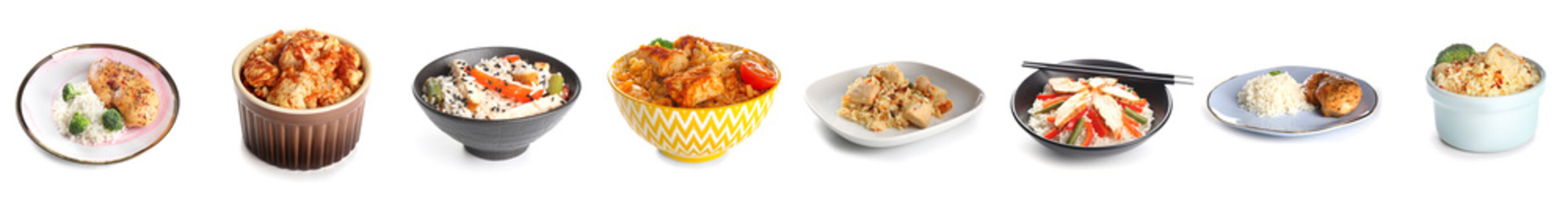 Collage with tasty boiled rice, chicken and vegetables on white background