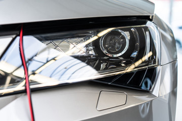 Сar Headlights, Close up, Grey colour