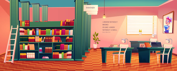 Library interior, empty room for reading with various books on wooden shelves, ladder, desks with lamps and picture of schoolgirl on wall. Cozy place for literature collection cartoon vector athenaeum