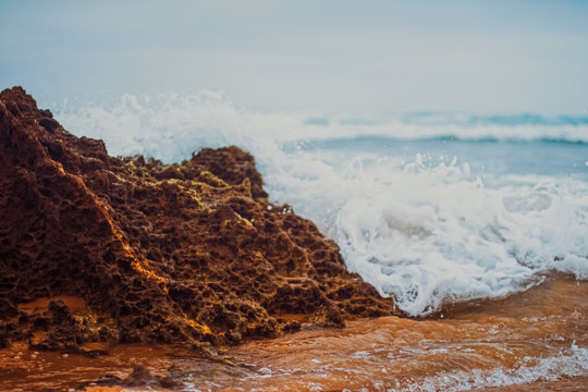 Storm in the ocean, sea waves crashing on rocks on the beach coast, nature and waterscape