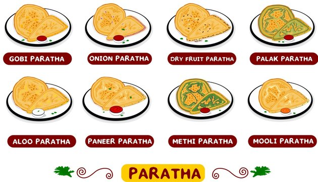 All Paratha indian Street Food Vector